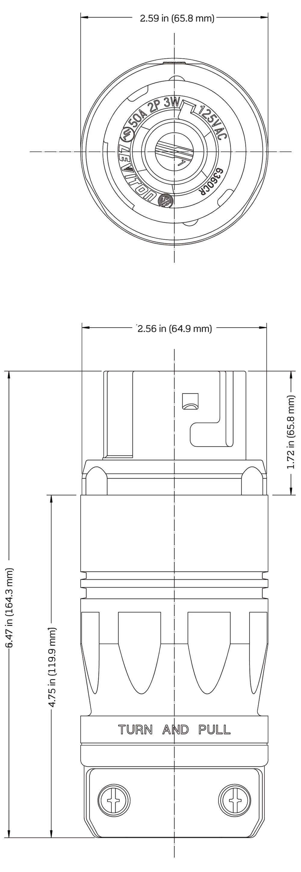 6360cr Leviton GFCI Hot Tub dimensional data