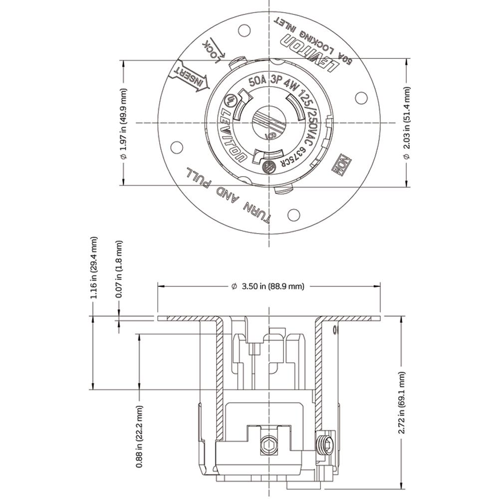Leviton 6375CR Black 50A 125//250V Non-NEMA 3 Phase 4 Wire Locking Flanged Inlet