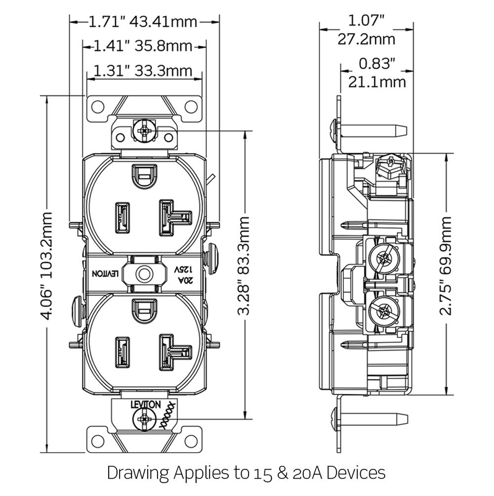 5252 w GFCI Duplex Receptacle dimensional data