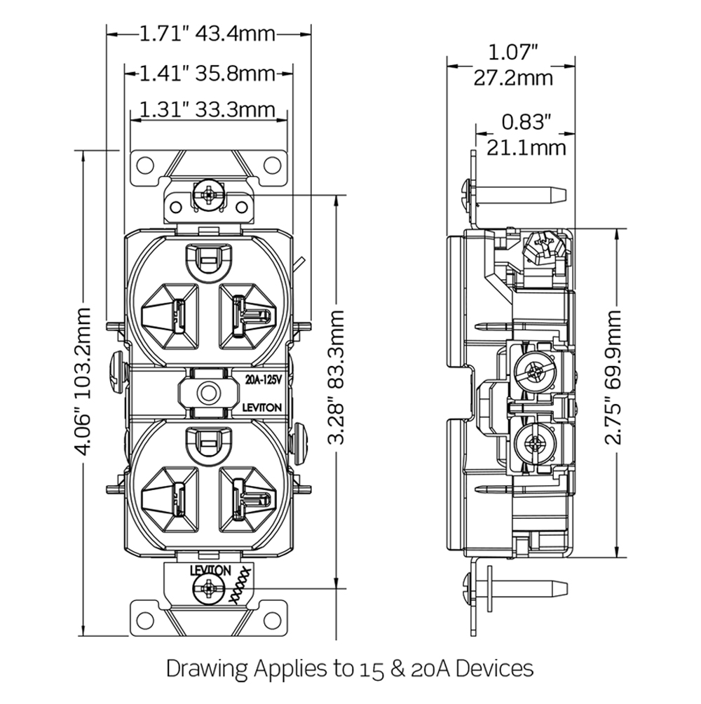 Cr20 W Light Wiring Diagram Leviton 2d Cad Dwg 3d Model Instruction Sheet Receptacle Installation