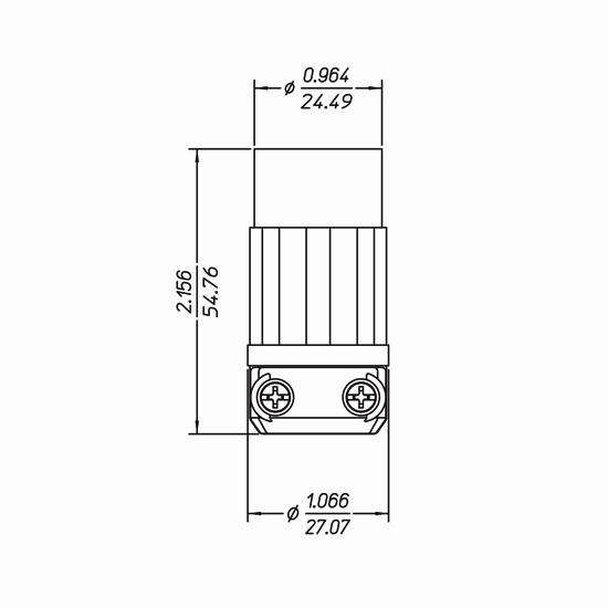 Leviton ML1-C 2 Wire 2 Pole Midget Connector ML1-00C ML-1R 15A 125V 5*B-19