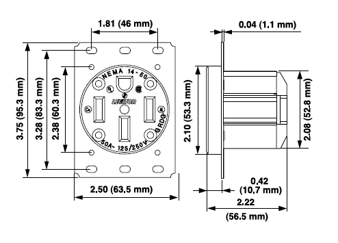 279 - 50 Amp Flush Mtg Receptacle in Black - Leviton Nema Wiring Size Diagram on 50a rv wiring diagram, nema 14-30p, 50 amp wiring diagram, nema 6-50, nema 14-50 outlet, 220 3 wire wiring diagram, nema 23 bracket dimensions, 6 lead motor wiring diagram, nema 5-20r diagram, nema 5-50, nema l6-30r diagram, nema l14-20, 4 wire stepper motor wiring diagram, square d contactor wiring diagram, nema 6-20p wiring, force wiring diagram, phase wiring diagram, plug wiring diagram, nema 14-30, nema 14-60r,
