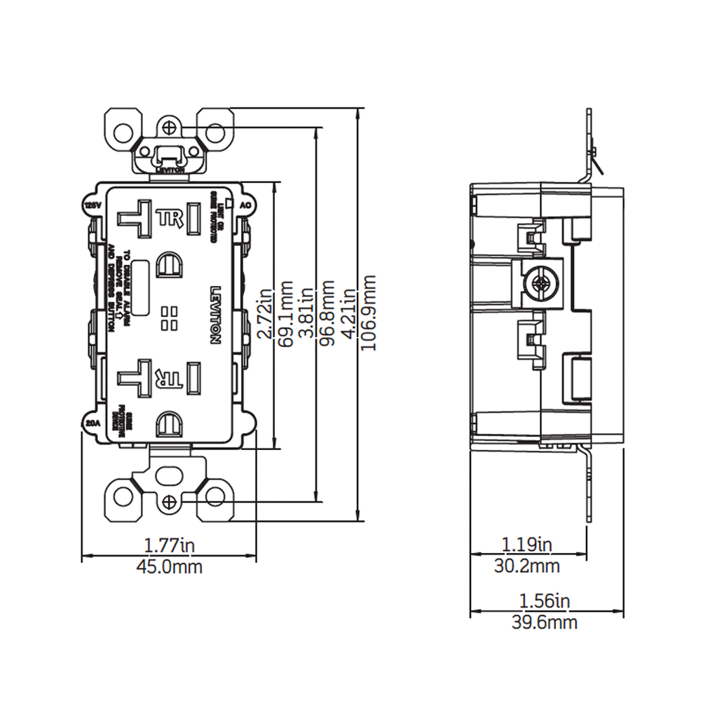 T5380 W Leviton Nom 057 Switch Wiring Diagram Dimensional Data