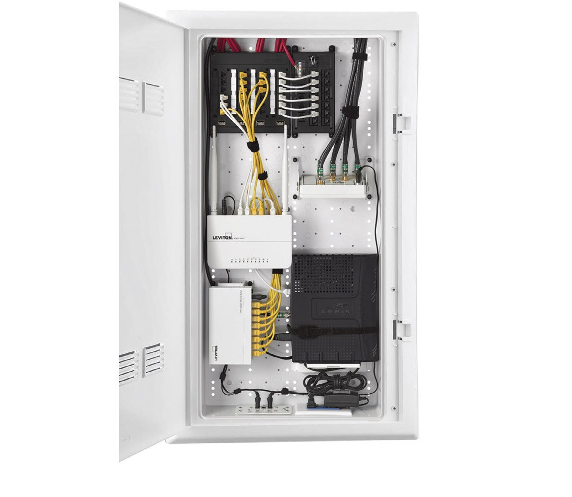 inside the structured media center rh leviton com Hubbell Enclosures Wire Enclosure Panels